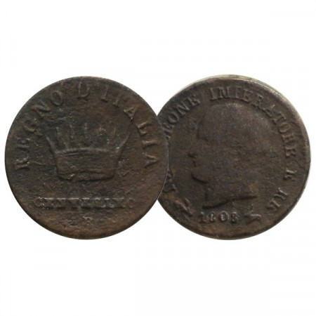 """1808 B * 1 Centesimo Italy """"Napoleon I - King of Italy - Bologna"""" (C 1.1) F"""