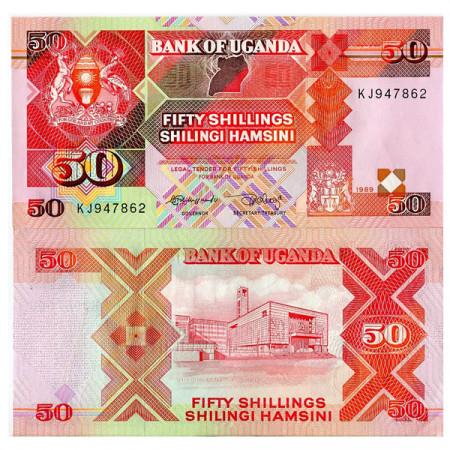 "1989 * Banknote Uganda 50 Shillings ""Parliament Building"" (p30b) UNC"