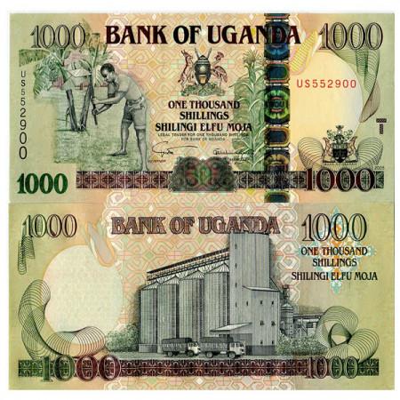 """2005 * Banknote Uganda 1000 Shillings """"Peasant - Grain Silo"""" (p43a) UNC"""