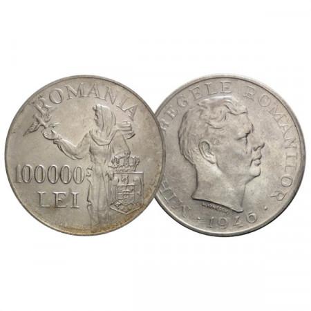 """1946 * 100.000 Lei Silver Romania """"Kingdom - Mihai I"""" (KM 71) XF"""