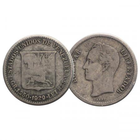 "1929 * Gram 1,25 (1/4 Bolivar) Silver Venezuela ""Simón Bolívar"" (Y 20) F"