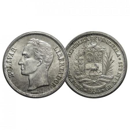 "1954 (p) * Gram 5 (1 Bolivar) Silver Venezuela ""Simón Bolívar"" (Y 37) UNC"