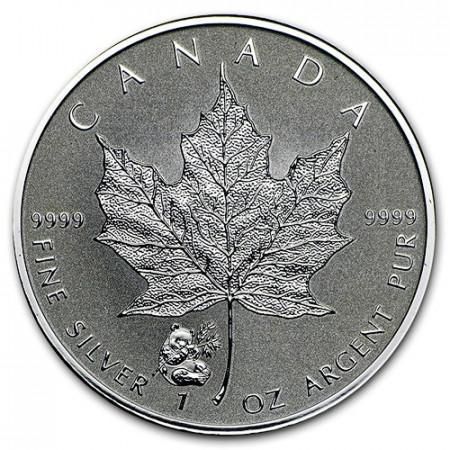 """2016 * 5 Dollars Silver 1 OZ Maple Leaf Canada """"Panda"""" Privy Mark"""