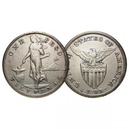 "1909 S * 1 Peso Silver Philippines ""U.S. Administration"" (KM 172) VF+"