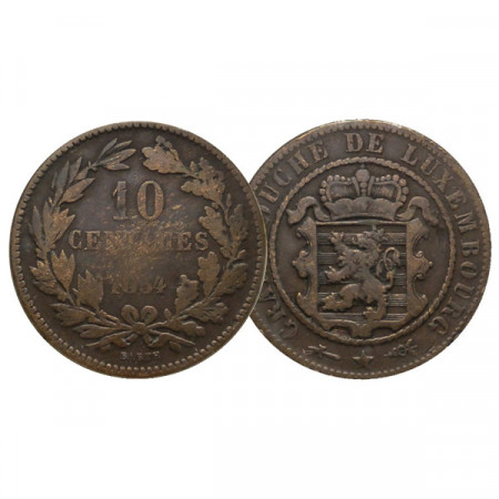 """1854 * 10 Centimes Luxembourg """"Willem III - Bruxelles"""" (KM 23.1) F/VF"""