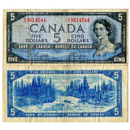 "1954 * Banknote Canada 5 Dollars ""Elizabeth II – Devil's Face Hairdo"" (p68b) F"
