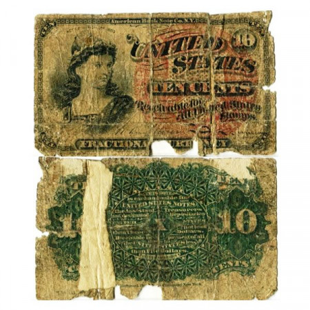 """1863 * Banknote United States of America 10 Cents """"Liberty"""" (p115c) G"""