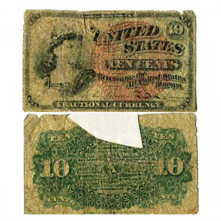 """1863 * Banknote United States of America 10 Cents """"Liberty"""" (p115d) G"""