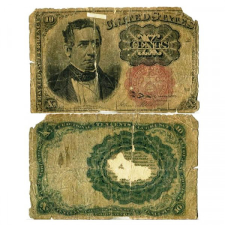 """1864 * Banknote United States of America 10 Cents """"William Morris Meredith"""" (p122) G"""