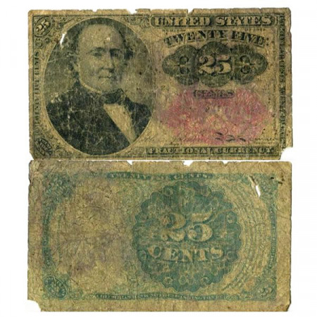 "1864 * Banknote United States of America 25 Cents ""Robert John Walker"" (p123) G+"