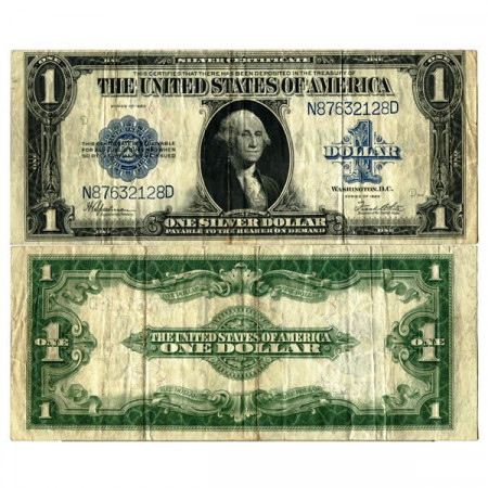 """1923 * Banknote United States of America 1 Dollar """"Washington - Silver Certificate"""" (p342) F+"""
