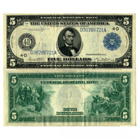 """1914 * Banknote United States of America 5 Dollars """"Lincoln - Blue Seal"""" (p359b) VF+"""