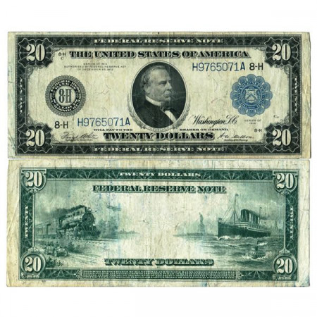 """1914 * Banknote United States of America 20 Dollars """"Cleveland - Blue Seal"""" (p361b) aVF"""