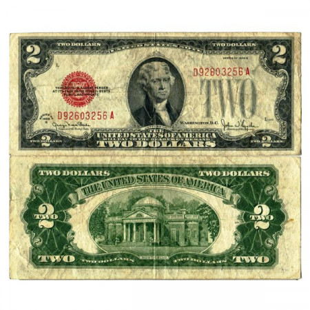 """1928 G * Banknote United States of America 2 Dollars """"Jefferson - Red Seal"""" (p378g) VF"""