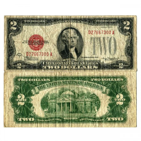 """1928 D * Banknote United States of America 2 Dollars """"Jefferson - Red Seal"""" (p378d) F"""