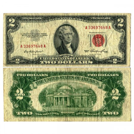 """1953 * Banknote United States of America 2 Dollars """"Jefferson - Red Seal"""" (p380) F+"""