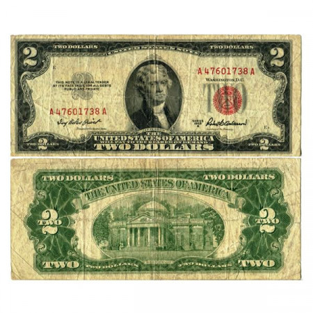 """1953 A * Banknote United States of America 2 Dollars """"Jefferson - Red Seal"""" (p380a) F"""