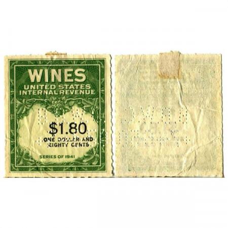 "1941 * Wine Stamp United States 1,80 Dollars ""Green Wine Stamp"" (px) XF"