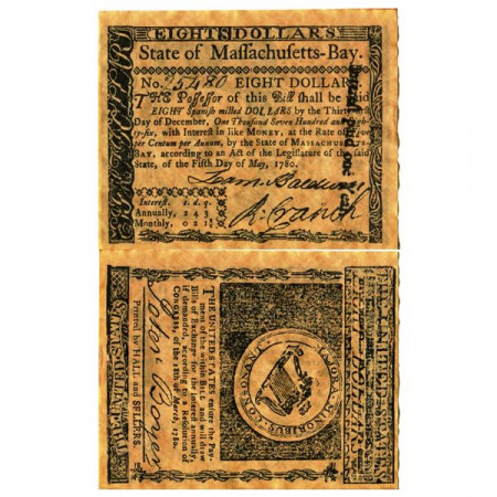 """1780 * Banknote United States 8 Dollars """"State of Massachusetts-Bay - REPLICA"""" (pS1342) UNC"""