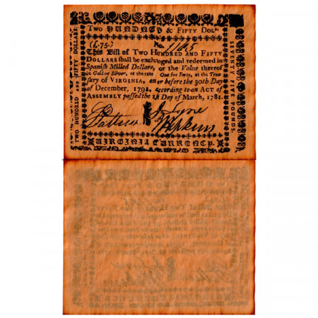 """1781 * Banknote United States 250 Dollars = 75 Pounds """"State of Virginia - REPLICA"""" (pS3655) UNC"""