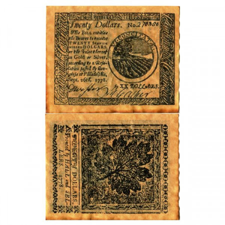 """1778 * Banknote United States 20 Dollars """"Continental Congress - REPLICA"""" (pS176) UNC"""