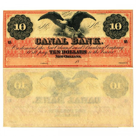"18xx * Banknote United States of America 10 Dollars ""Canal Bank - New Orleans"" (px) XF+"