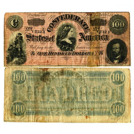 """1864 * Banknote Confederate States of America 100 Dollars """"Richmond"""" (p71) VG"""