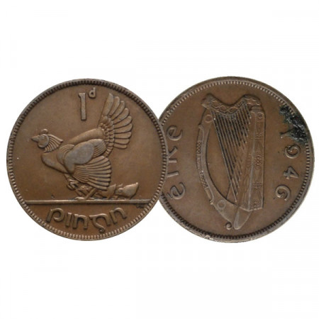 "1946 * 1 Pingin (Penny) Ireland ""Hen with Chicks"" (KM 11) VF"
