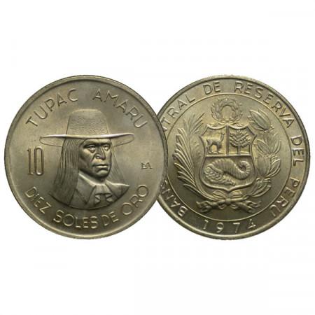 """1974 * 10 Soles de Oro Peru """"Tupac Amaru"""" (KM 258) UNC"""