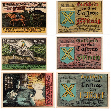 "1921 * Set 3 Notgeld Germany 25 . 50 Pfennig 1 Mark ""North Rhine-Westphalian - Castrop"" (223)"