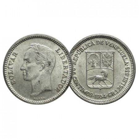 """1954 (p) * Gram 1,25 (25 Cents) Silver Venezuela """"Simón Bolívar"""" (Y 35) UNC"""