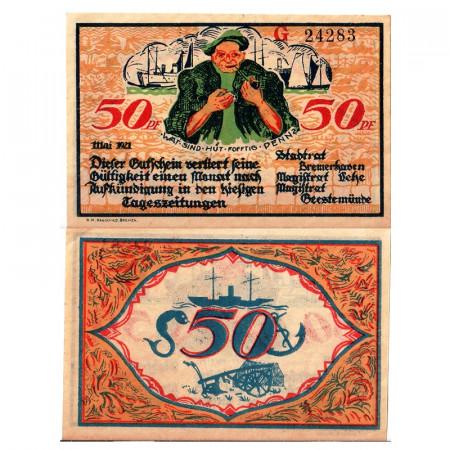 """1920 * Notgeld Germany 50 Pfennig """"Bremen – Bremerhaven"""" (184)"""