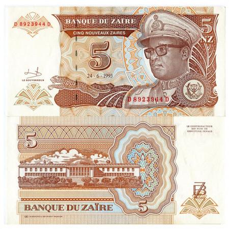 """1993 * Banknote Zaire 5 Nouveaux Zaires """"Mobutu Sese Seko"""" (p53a) UNC"""