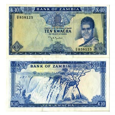 "ND (1969) * Banknote Zambia 10 Kwacha ""Kaunda - Victoria Falls"" (p12a) aUNC"