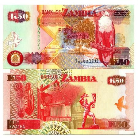 """1992 * Banknote Zambia 50 Kwacha """"Fish Eagle"""" (p37a) UNC"""