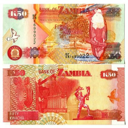 """2006 * Banknote Zambia 50 Kwacha """"Fish Eagle"""" (p37e) UNC"""