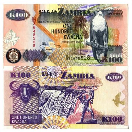 """2006 * Banknote Zambia 100 Kwacha """"Fish Eagle"""" (p38f) UNC"""