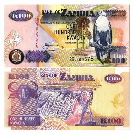 """2010 * Banknote Zambia 100 Kwacha """"Fish Eagle"""" (p38i) UNC"""