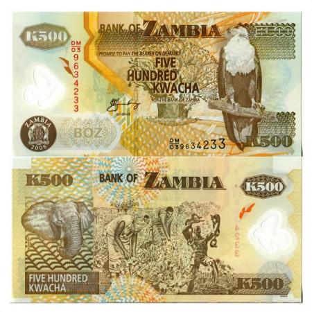 """2008 * Banknote Polymer Zambia 500 Kwacha """"Fish Eagle"""" (p43f) UNC"""