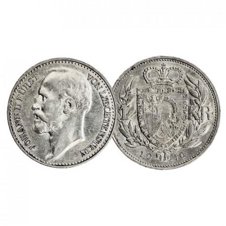 """1910 * 1 Krone Silver Liechtenstein """"Johann II"""" (Y 2) XF+"""
