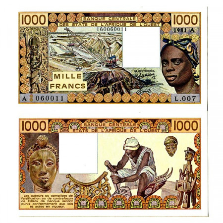 """1981 A * Banknote West African States """"Ivory Coast"""" 1000 Francs """"Mining"""" (p107Ac) UNC"""
