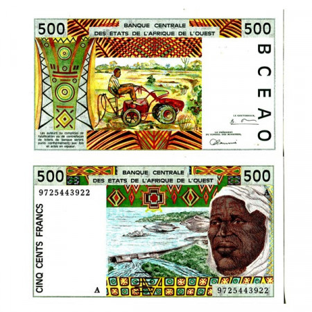 """1997 A * Banknote West African States """"Ivory Coast"""" 500 Francs """"Tractor"""" (p110Ag) UNC"""