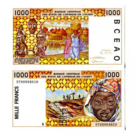 """1997 S * Banknote West African States """"Guinea-Bissau"""" 1000 Francs """"Peanuts Hauling"""" (p911Sa) UNC"""