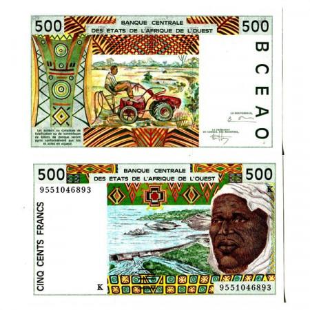 "1995 K * Banknote West African States ""Senegal"" 500 Francs ""Tractor"" (p710Ke) aUNC"