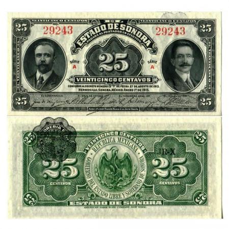 """1915 * Banknote Mexico - Mexican Revolution 25 Centavos """"Estado de Sonora"""" (pS1069) UNC"""