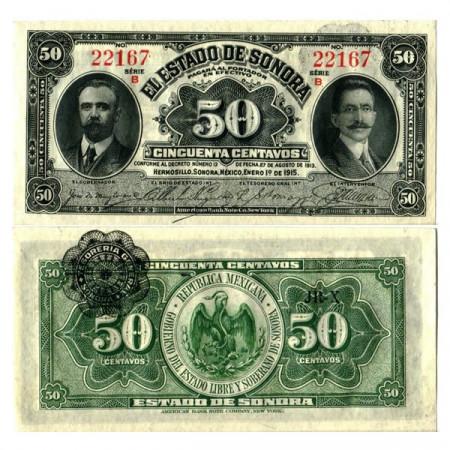 """1915 * Banknote Mexico - Mexican Revolution 50 Centavos """"Estado de Sonora"""" (pS1070) UNC"""