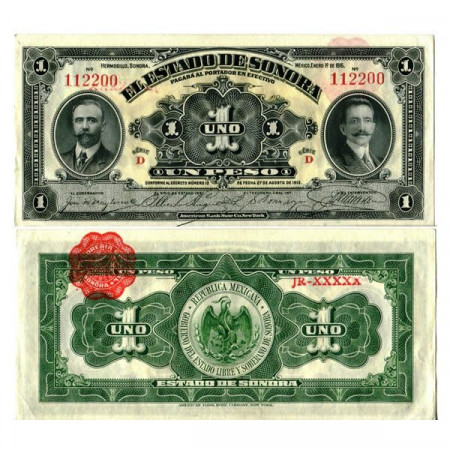 """1915 * Banknote Mexico - Mexican Revolution 1 Peso """"Estado de Sonora"""" (pS1071) UNC"""
