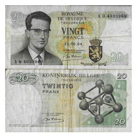 """1964 * Banknote Belgium 20 Francs """"Baudouin I - Atomium"""" (p138) F"""
