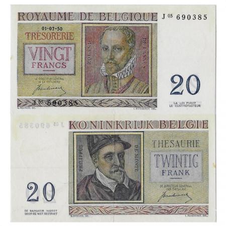 """1950 * Banknote Belgium 20 Francs """"Roland de Lassus"""" (p132a) XF+"""