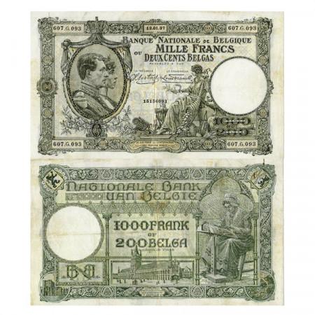 """1937 * Banknote Belgium 1000 Francs/200 Belgas """"King Albert Queen Élisabeth"""" (p104) VF"""